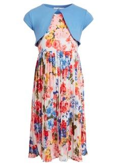 Bonnie Jean Little Girls 2-Pc. Cardigan & Floral Maxi Dress Set