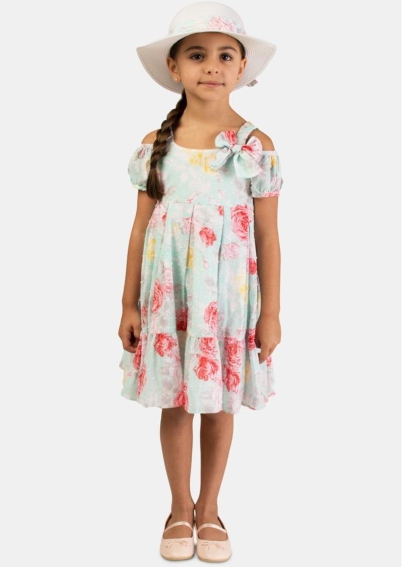 Bonnie Jean Little Girls 2-Pc. Clip-Dot Floral-Print Dress & Hat Set