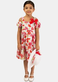 Bonnie Jean Little Girls 2-Pc. Clip-Dot Floral-Print Dress & Hat Set