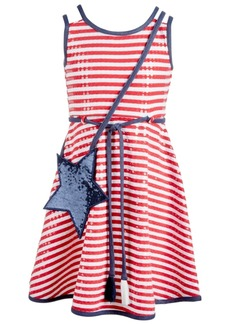 Bonnie Jean Little Girls 2-Pc. Striped Dress & Star Shoulder Bag Set