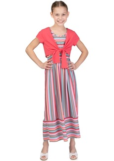 Bonnie Jean Little Girls 2-Pc. Tie-Front Cardigan & Striped Maxi Dress Set