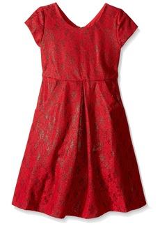 Bonnie Jean Little Girls' Bonded Lace Dress Red