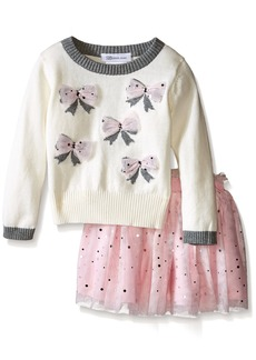 Bonnie Jean Girls Appliqued Intarsia Sweater and Ballerina Skirt Set
