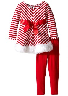 Bonnie Jean Little Girls' Toddler Candy Cane Santa Playwear Set Red