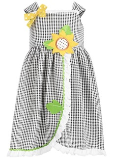 Bonnie Jean Little Girls Check-Print Seersucker Sunflower Dress