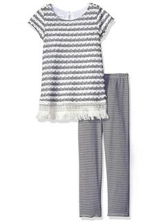 Bonnie Jean Little Girls' Crochet Knit Fringe Dress with Stripe Leggings Black/White