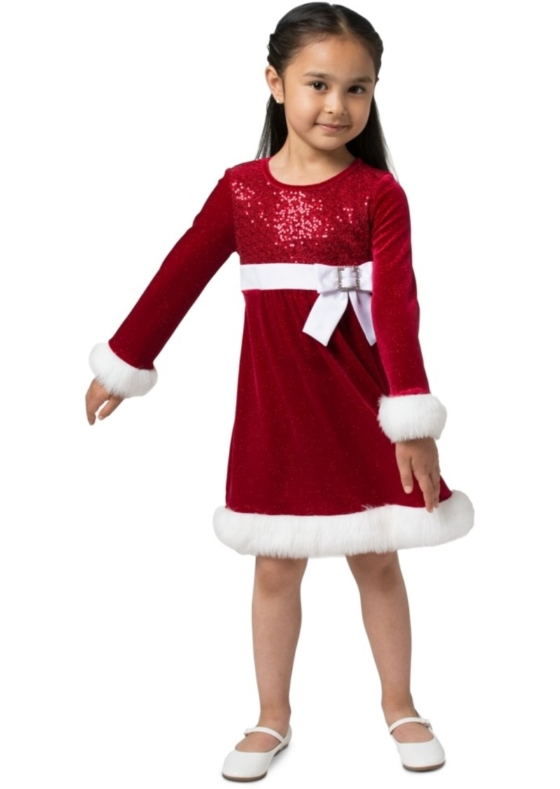 Bonnie Jean Little Girls Faux-Fur-Trim Sequined Santa Dress
