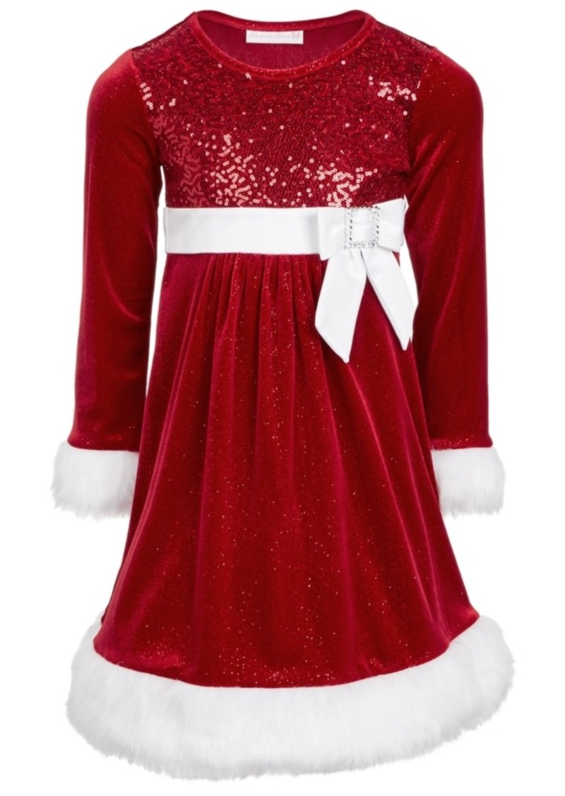 Bonnie Jean Toddler Girls Faux-Fur-Trim Sequined Santa Dress