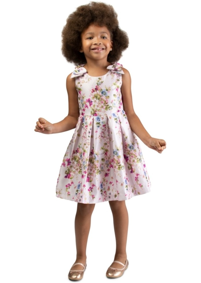 Bonnie Jean Little Girls Floral-Print Bow Dress