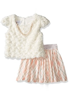 Bonnie Jean Little Girls' Fuzzy Knit Top and Spangled Plaid Skirt