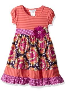 Bonnie Jean Little Girls' Knit to Cotton Poplin Print Dress