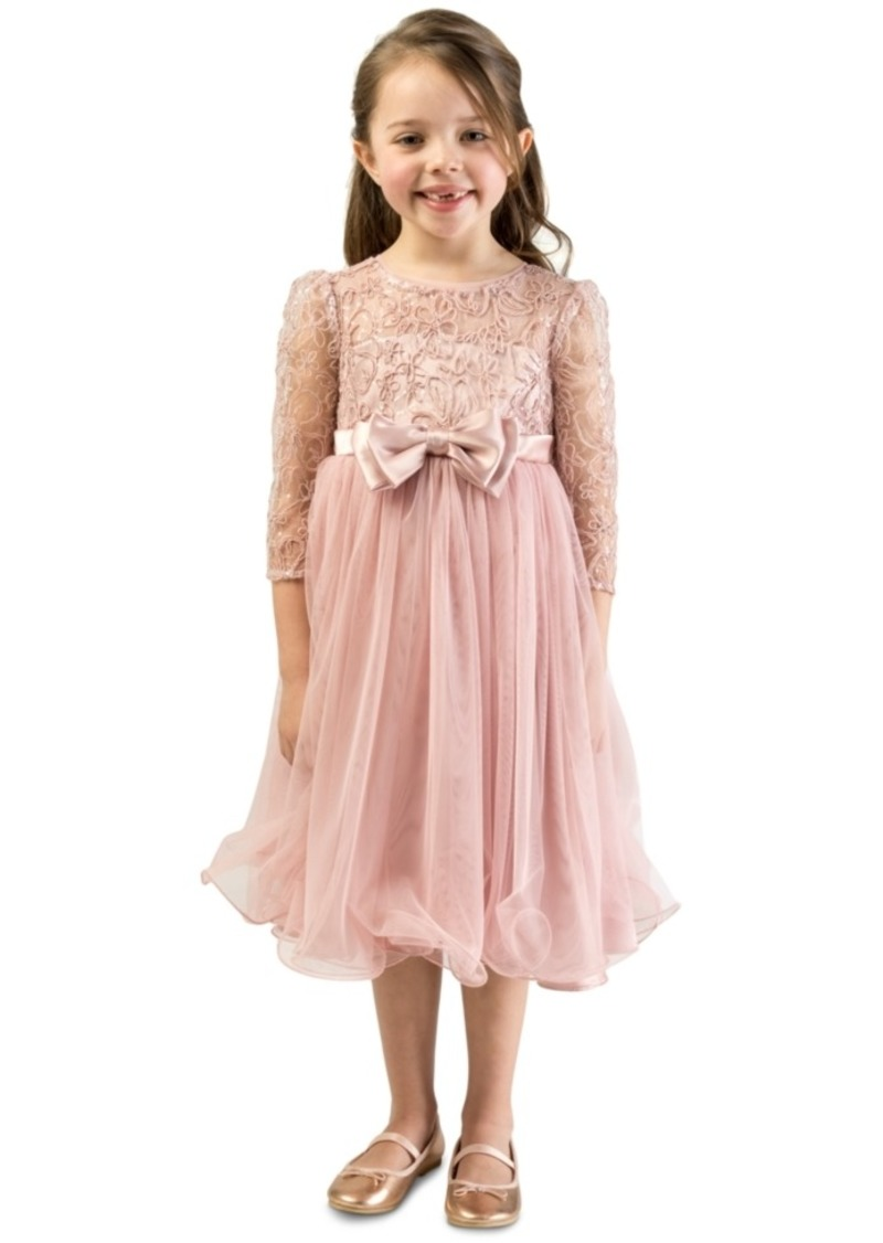 Bonnie Jean Toddler Girls Lace Bow Dress