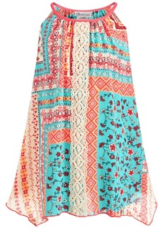 Bonnie Jean Little Girls Mixed-Print Lace-Front Dress