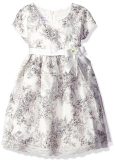 Bonnie Jean Little Girls' Printed Floral Toile Shantung Dress