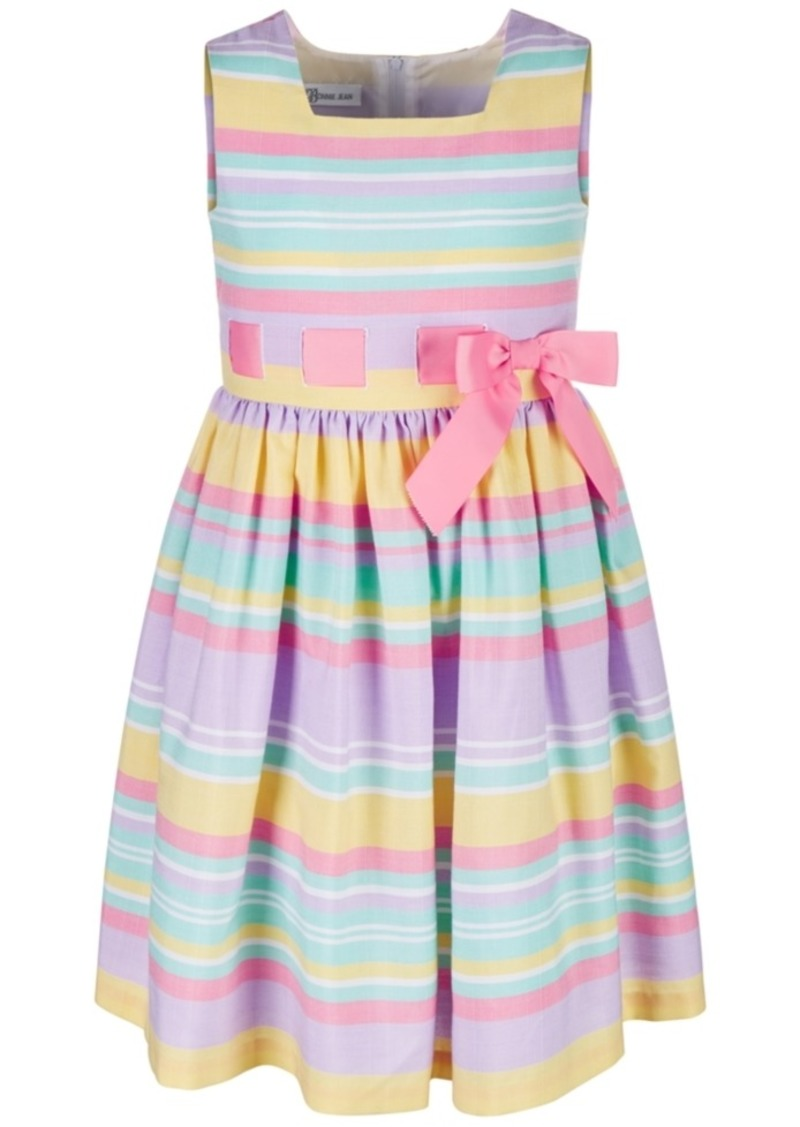 Bonnie Jean Little Girls Rainbow Striped Linen Dress