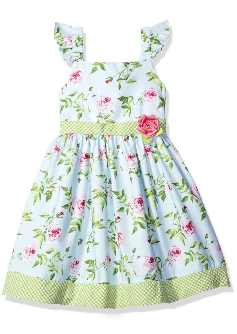 Bonnie Jean Little Girls' Rose Floral Print Flutter Sleeve Dress