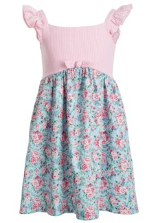 Bonnie Jean Little Girls Sleeveless Seersucker Yoke to Printed Poplin Skirt Dress
