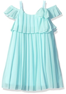 Bonnie Jean Girls' Little Sleeveless Cold Shoulder Chiffon Pleated Party Dress