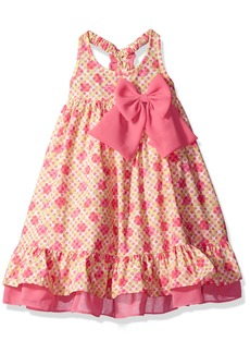 Bonnie Jean Little Girls' Sleeveless Floral Trapeze Dress with Side Bow
