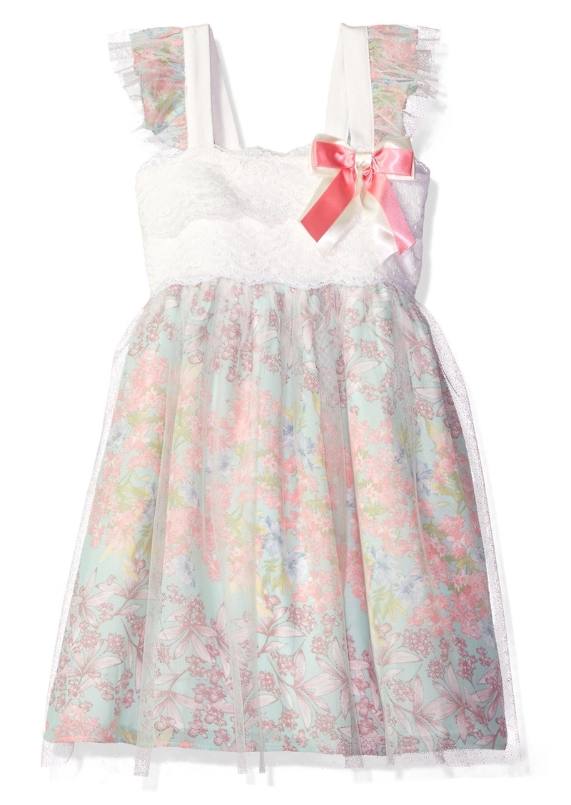 e5aefae2d002 Bonnie Jean Little Girls' Sleeveless Lace to Mesh Over Chiffon Babydoll  Dress
