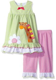 Bonnie Jean Little Girls' Sleeveless Seersucker  Appliqued Playwear Set Green