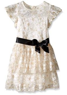 Bonnie Jean Little Girls' Tiered Metallic Lace Dress