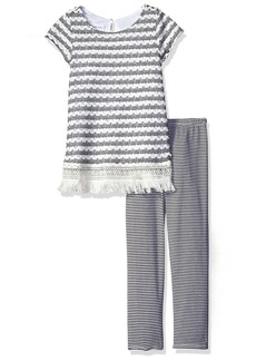 Bonnie Jean Little Girls' Toddler Crochet Knit Fringe Dress with Stripe Leggings Black/White