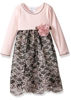 Bonnie Jean Little Girls' Toddler Embroidered Border Organza Pink