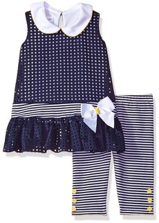 Bonnie Jean Little Girls' Toddler Laser Cut Dropwaist Playwear Set Navy