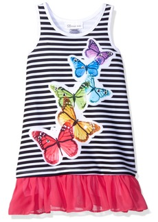 Bonnie Jean Little Girls' Toddler Stripe Knit  Applique Dress Black/White