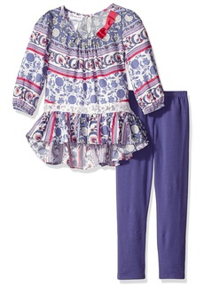 Bonnie Jean Little Girls' Toile Stripe Challis Peasant Dress With Solid Leggings