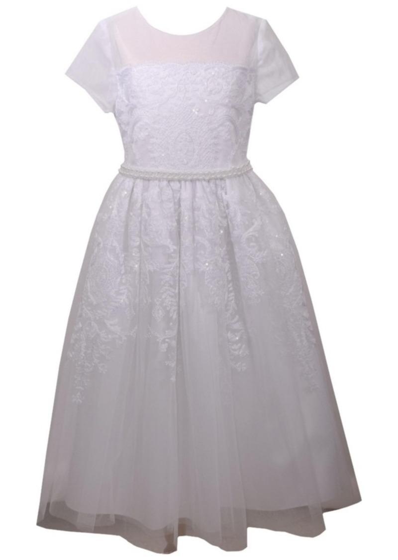 Bonnie Jean Sequin Embroidered Communion Dress