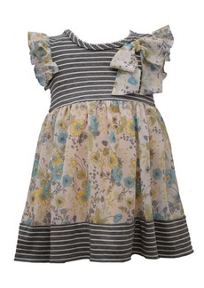 Bonnie Jean Toddler Girl Flutter Sleeved Striped Knit To Floral Chiffon Empire Dress With Bow Detail At Shoulder