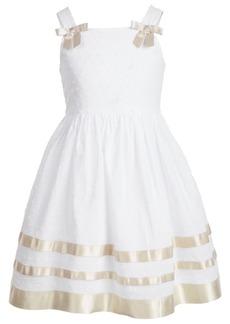 Bonnie Jean Toddler Girls Clip-Dot Ribbon-Trim Dress