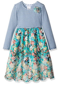 Bonnie Jean Toddler Girls' Knit to Floral Embroidered Scallop Dress