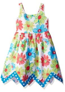 Bonnie Jean Toddler Girls' Sleeveless Floral Hanky Hem Cotton Dress