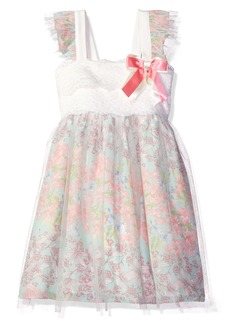 Bonnie Jean Toddler Girls' Sleeveless Lace to Mesh Over Chiffon Babydoll Dress