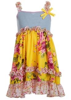 Bonnie Jean Toddler Girls Sleeveless Striped Knit to Pebble Crepe Skirt Dress