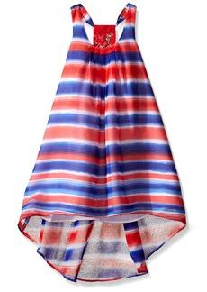 Bonnie Jean Toddler Girls' Watercolor Stripe Chiffon Hi Low Dress Blue