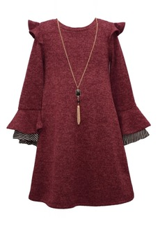 Bonnie Jean Little Girls Ruffle Necklace Sweater Dress