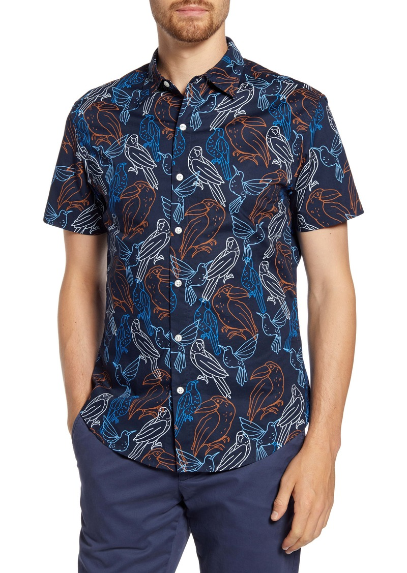 Bonobos Slim Fit Bird Print Short Sleeve Button-Up Shirt
