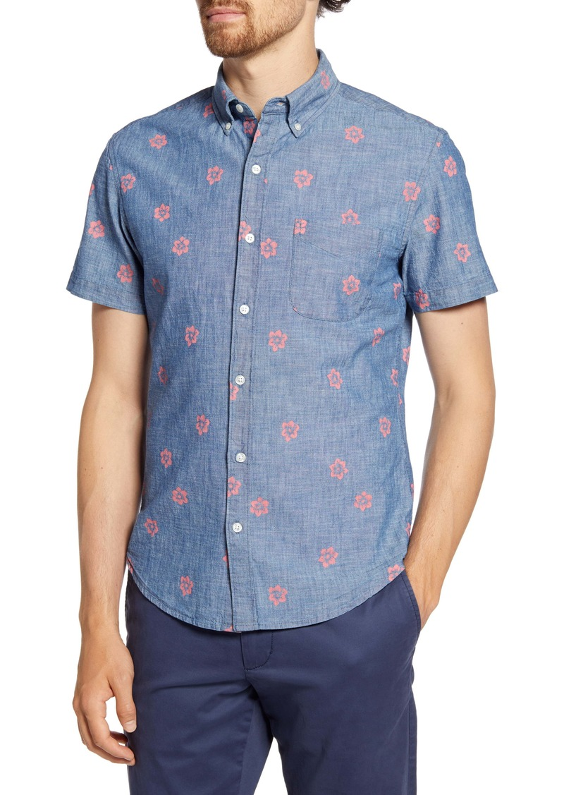 Bonobos Slim Fit Floral Short Sleeve Button-Down Chambray Shirt