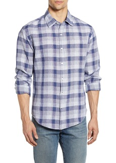Bonobos Slim Fit Plaid Washed Linen & Cotton Button-Up Shirt
