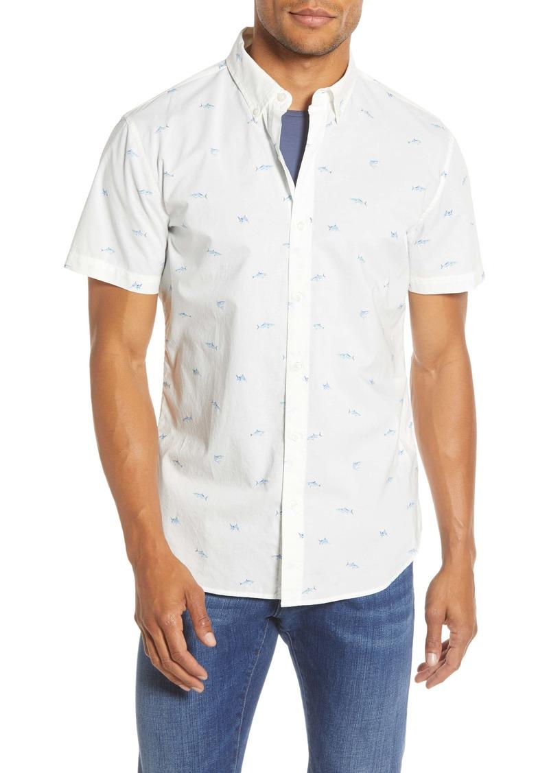 Bonobos Slim Fit Print Shark Short Sleeve Button-Down Shirt