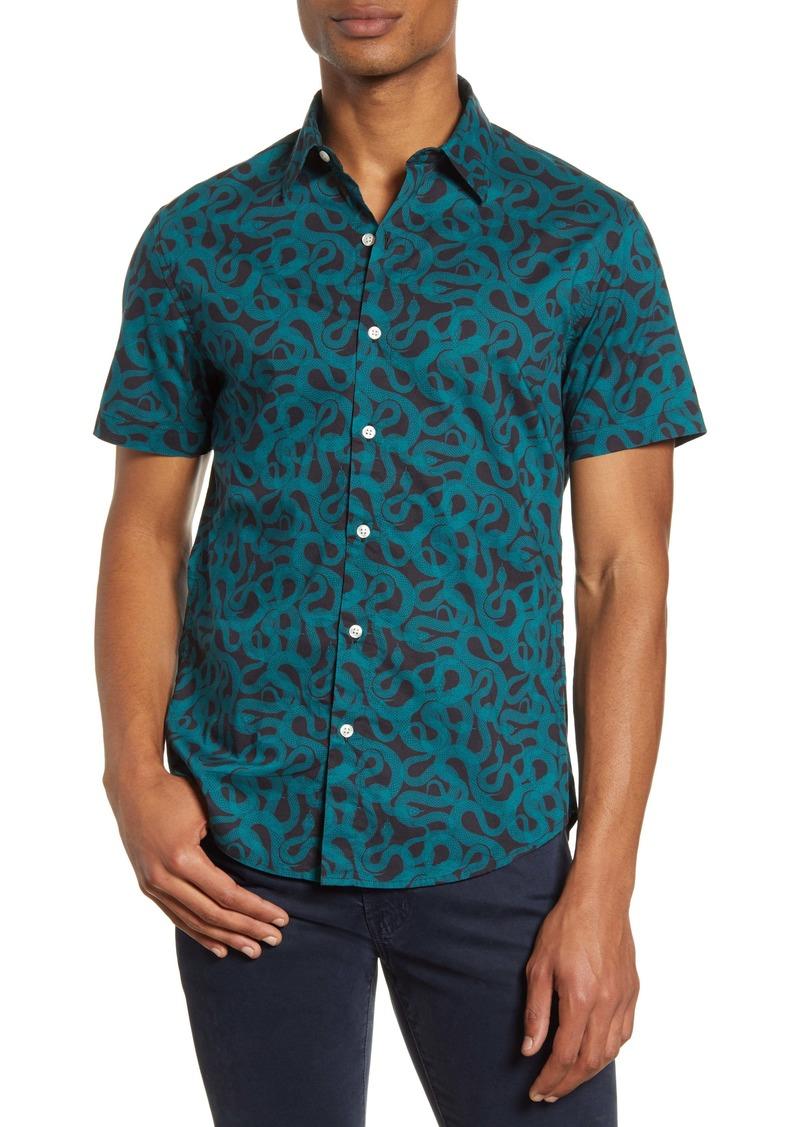 Bonobos Slim Fit Snake Print Short Sleeve Button-Up Shirt