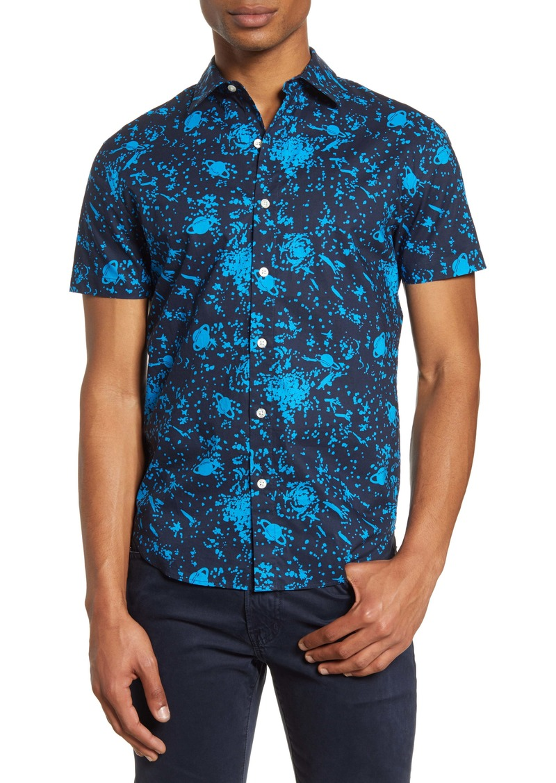 Bonobos Slim Fit Space Print Short Sleeve Button-Up Shirt