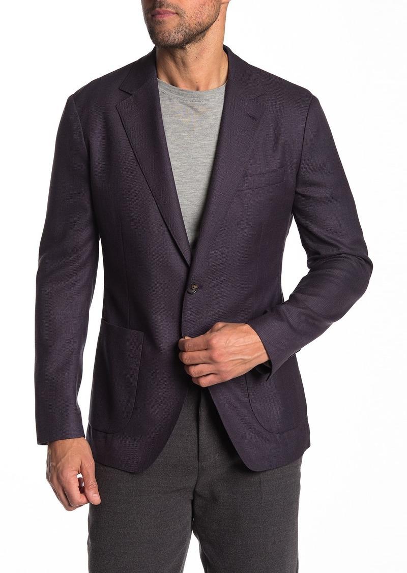 Bonobos Purple Solid Two Button Notch Lapel Wool Slim Fit Suit Jacket
