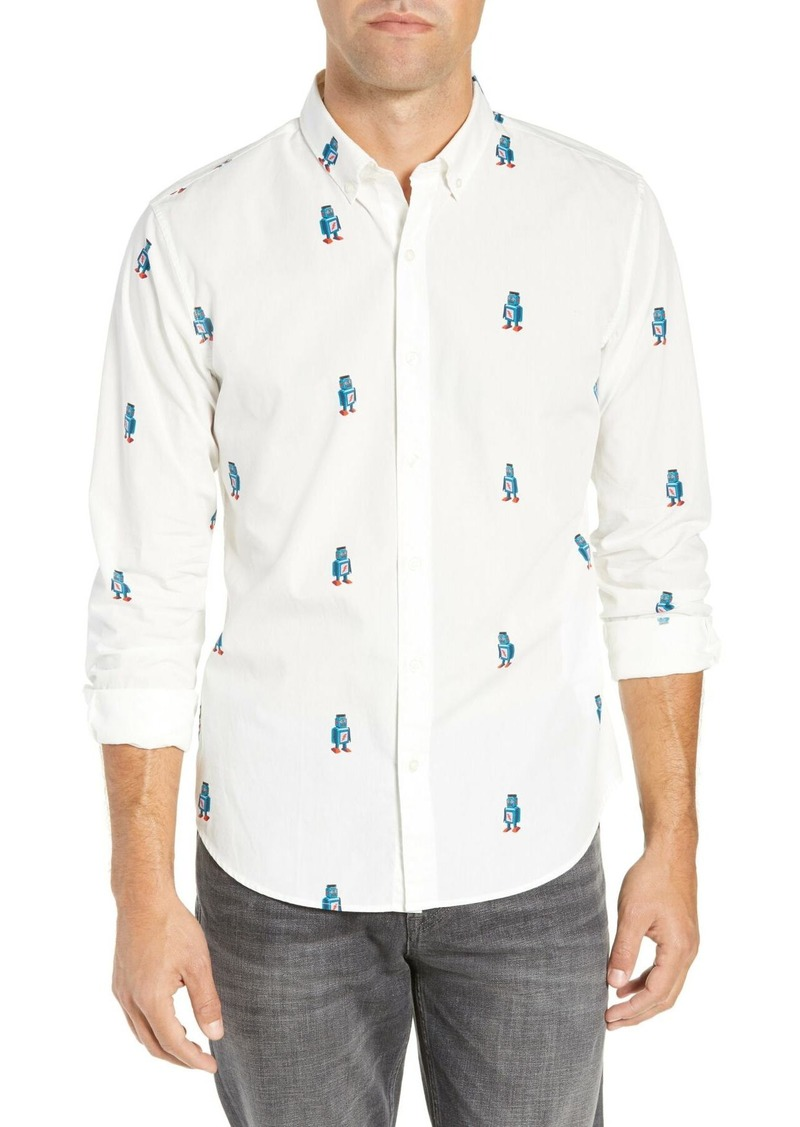 Bonobos Washed Button Down Slim Fit Robot Print Sport Shirt