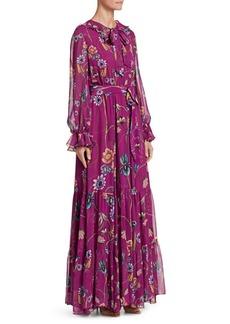 Borgo de Nor Anna Floral Long-Sleeve Silk Maxi Dress