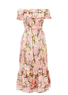 Borgo De Nor Agata floral-print silk-satin midi dress